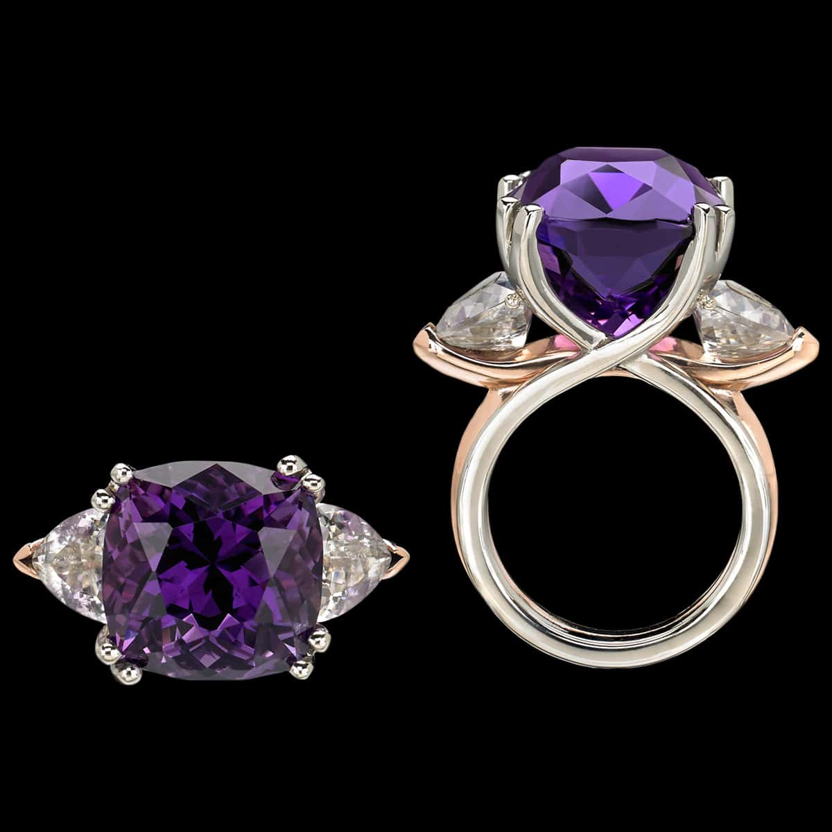Allegre Amethyst Cocktail Ring both