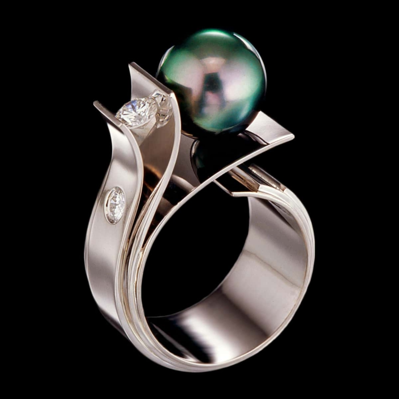 pearl jewelry fiore del mare ring tahitian pearl ring