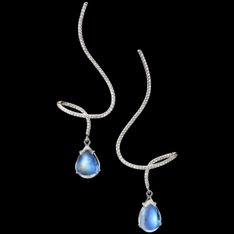moonstone pirouette earrings