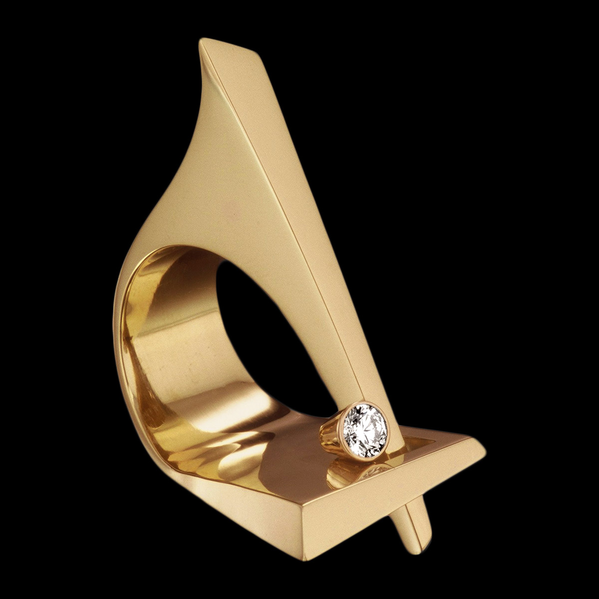 diamond gold cocktail ring Sculpture ring
