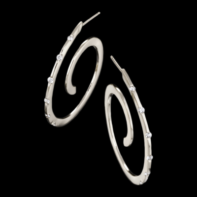 Spirale White Gold Diamond Earrings