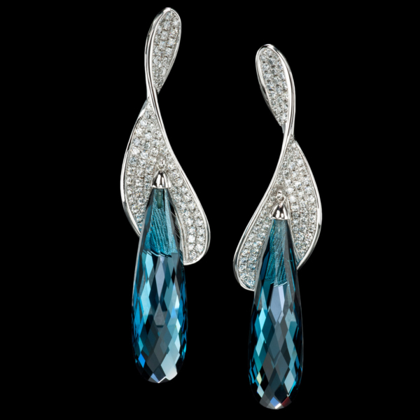 Vortice blue topaz earrings