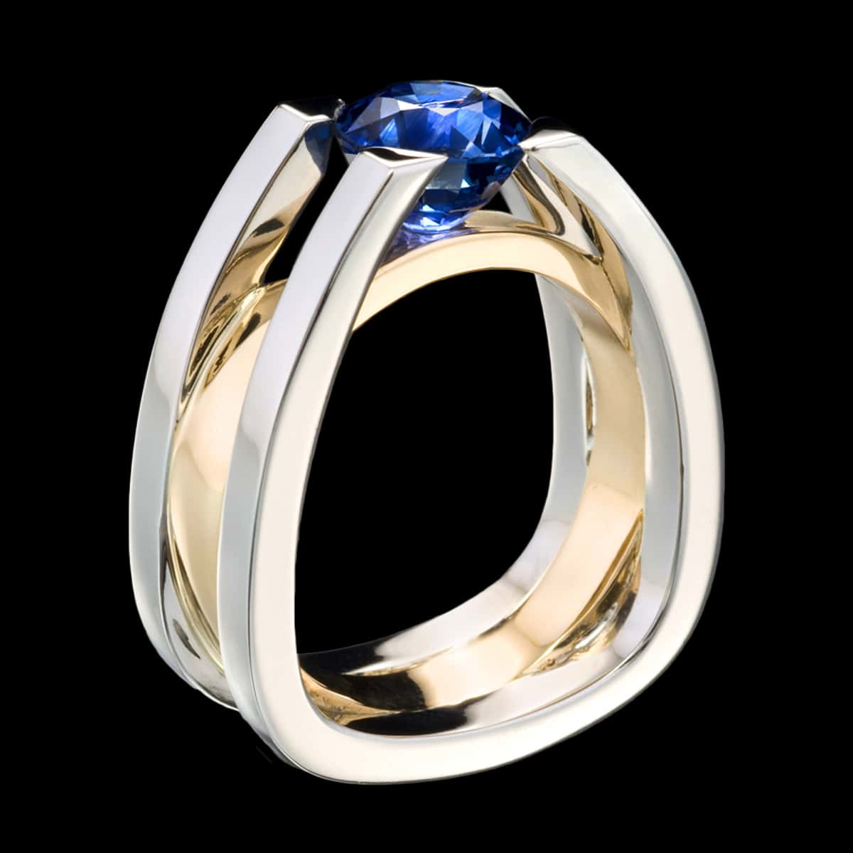 This is a photo of Mens Blue Sapphire Ring Forte Designer Jewelry by Adam Neeley