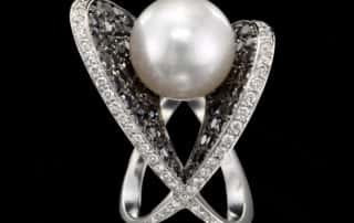South Sea Pearl Black & White Diamond Cocktail Ring, Moonlight and Caviar