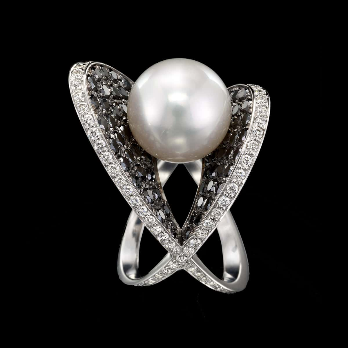South Sea Pearl Diamond Ring Moonlight and Caviar
