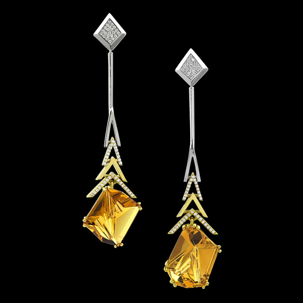 Munsteiner Gemstone Jewelry Crescendo Citrine Earrings