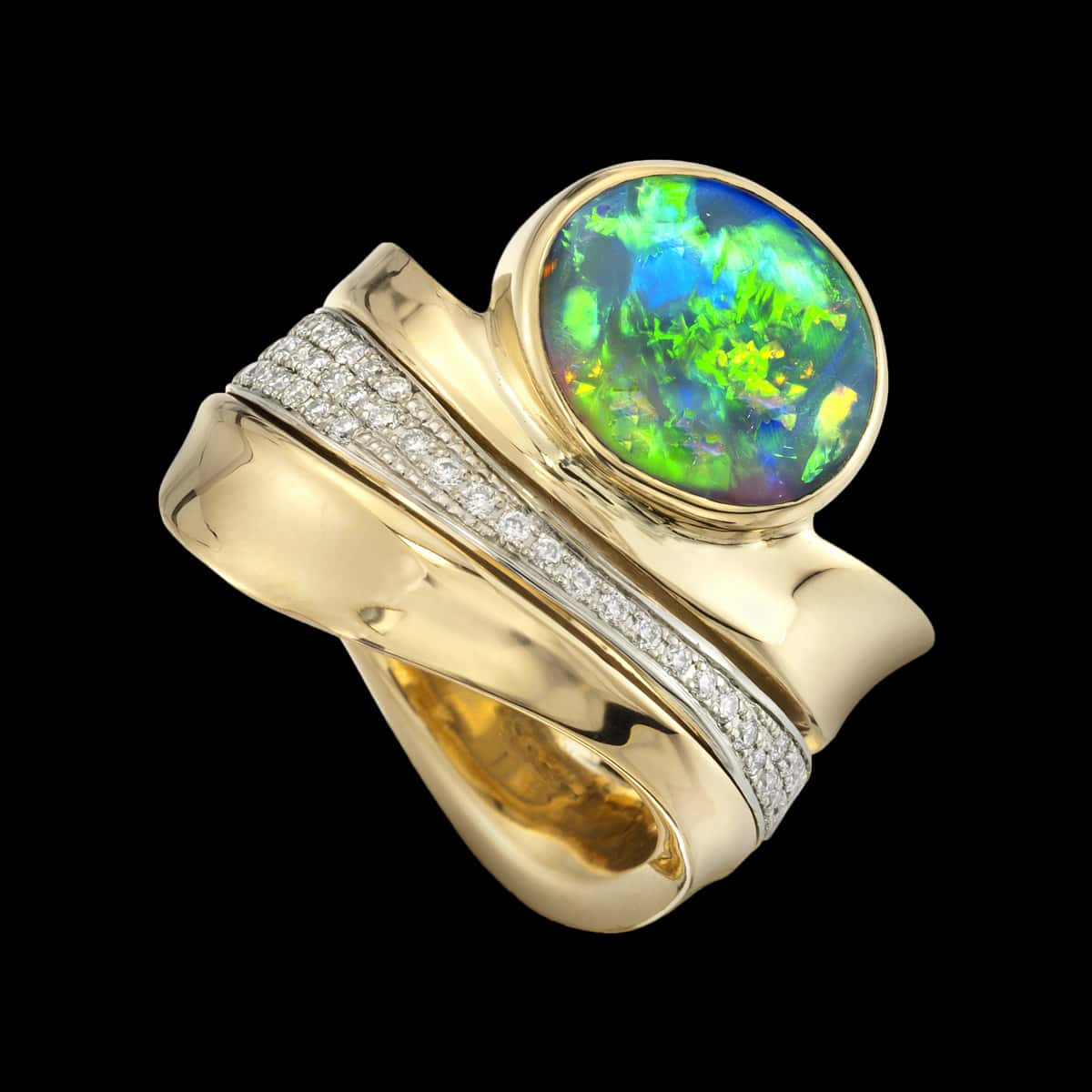 Northern Lights Ring Opal