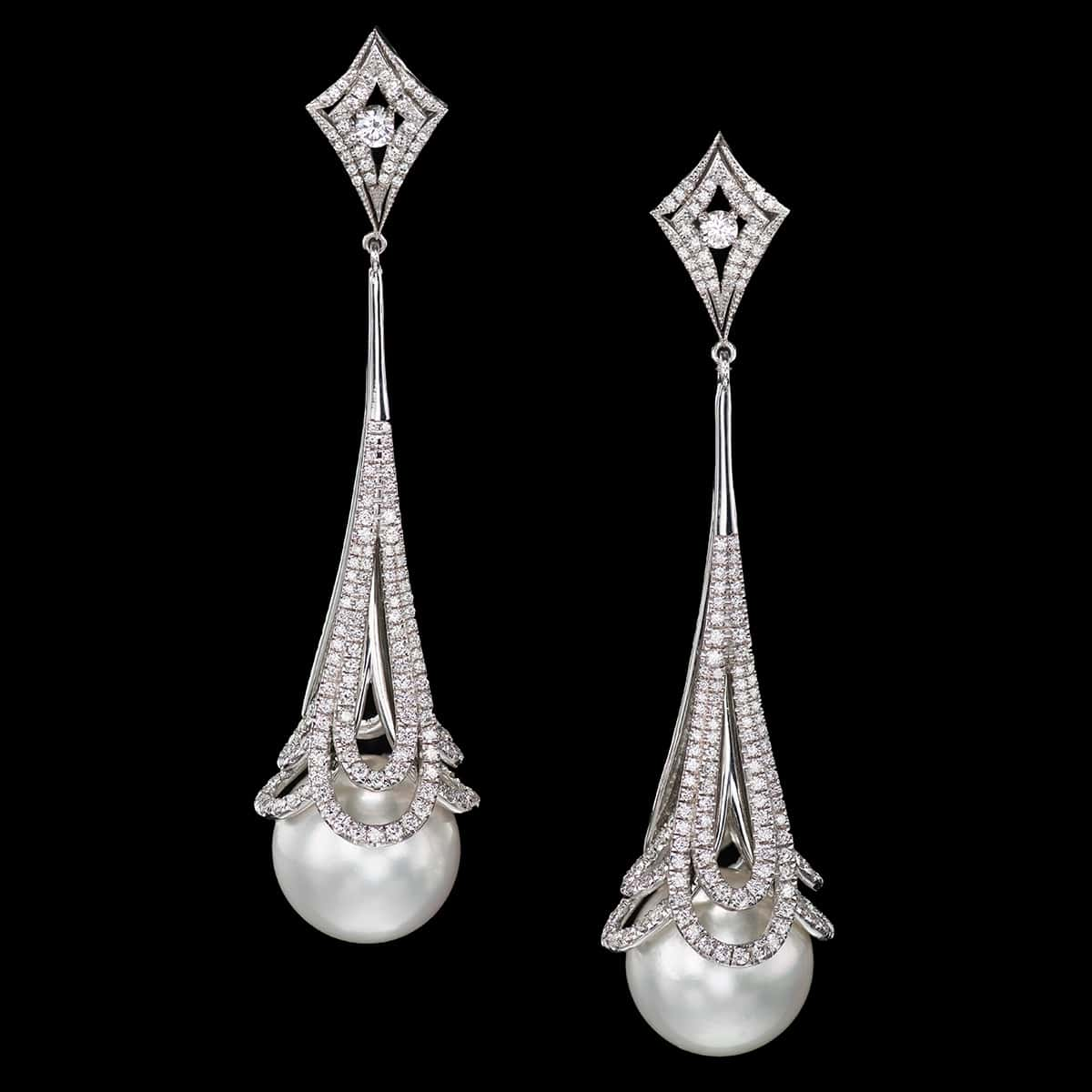 pearls in lace earrings