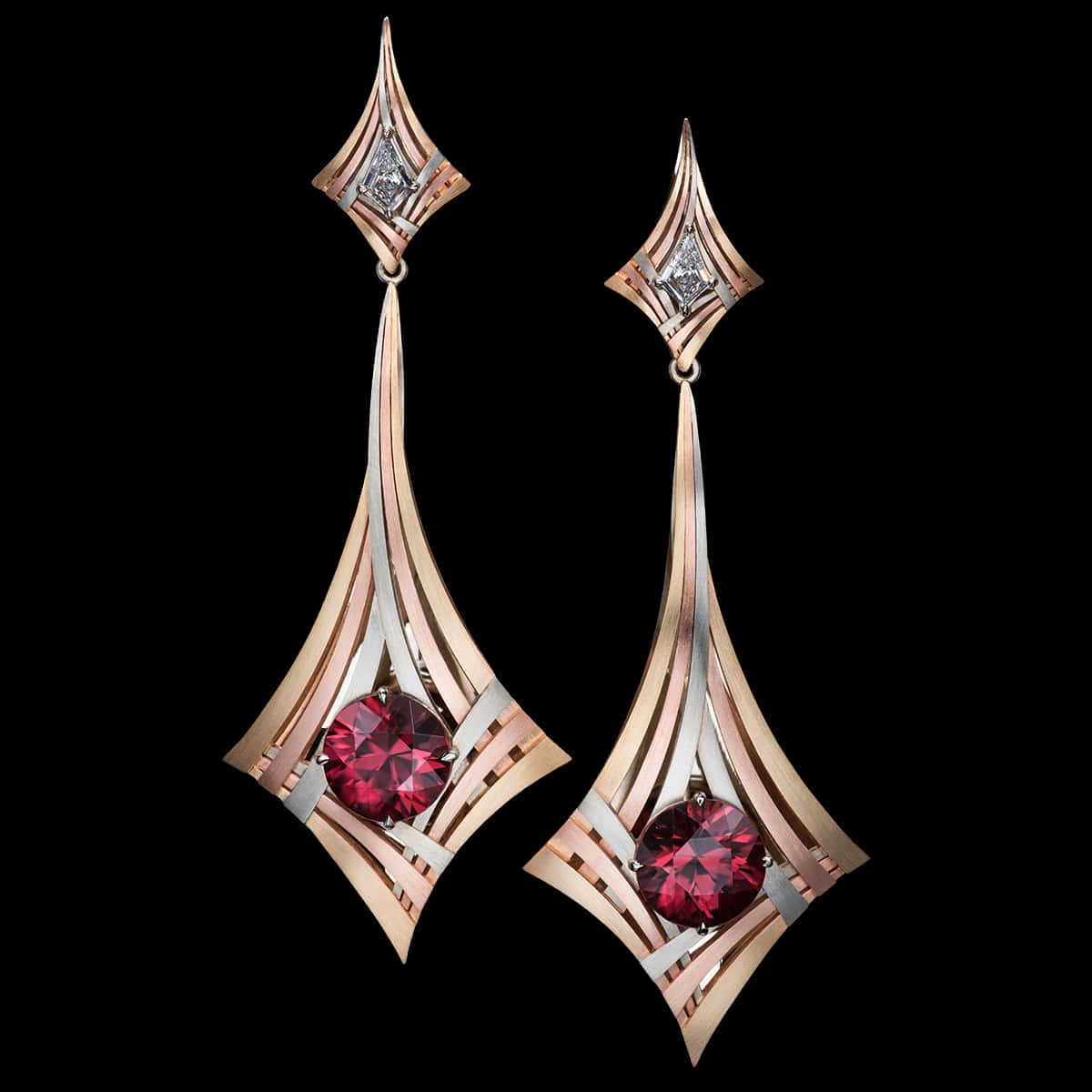 Zircon Earrings, Rouge Moderne Earrings - Couture Jewelry Portfolio