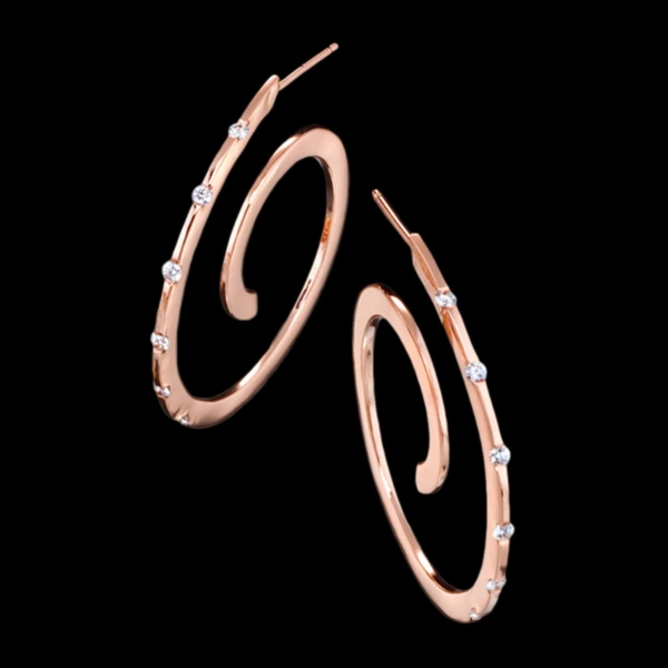 Spirale Rose Gold Diamond Earrings