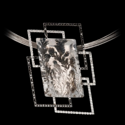 rare gemstone jewelry winter garden dendritic quartz pendant