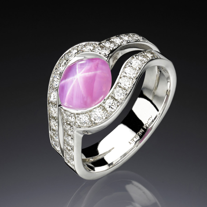 Diamonds and Colored Gemstones Rose Star Sapphire Ring