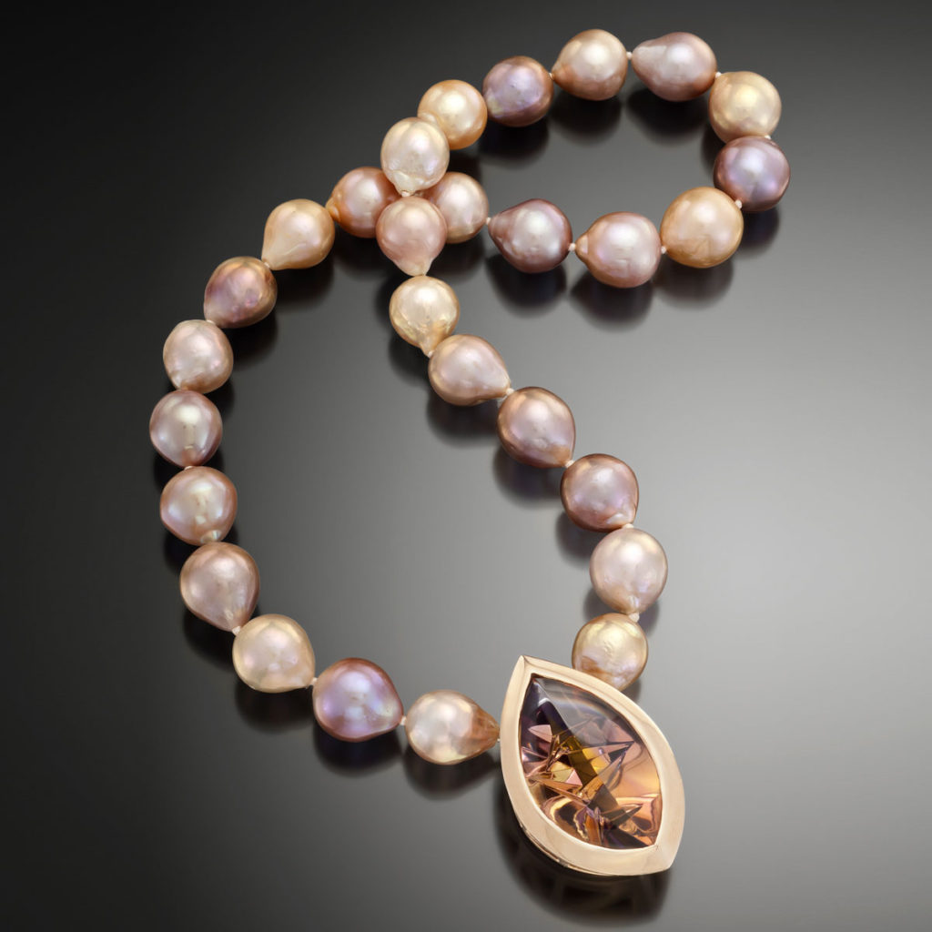 Sunset Pearl and Ametrine Necklace