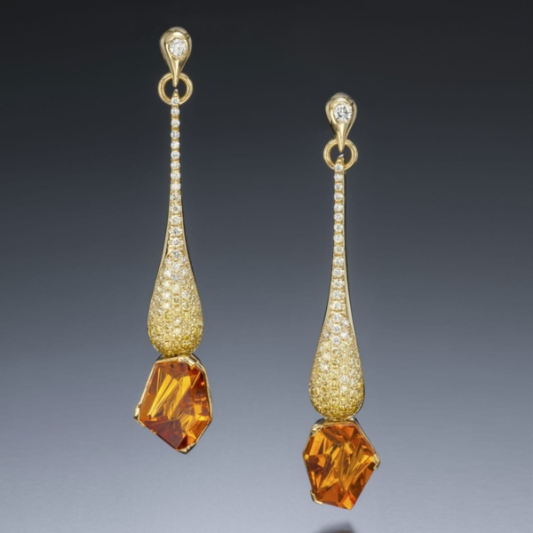 dripping diamonds garnet earrings