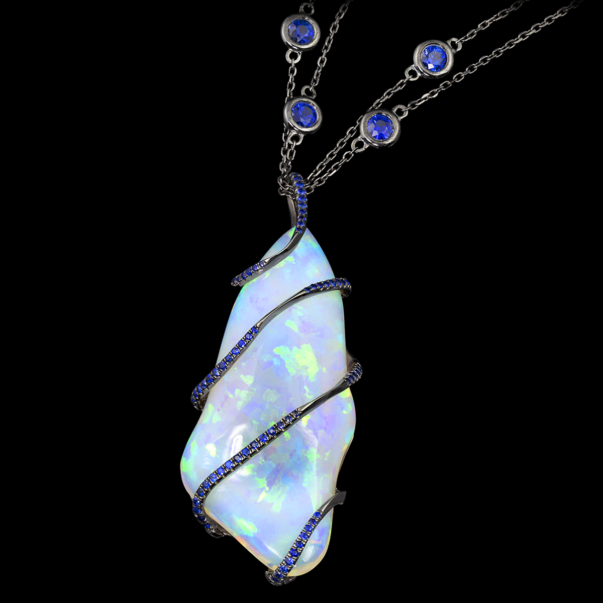 nightfall opal necklace closeup