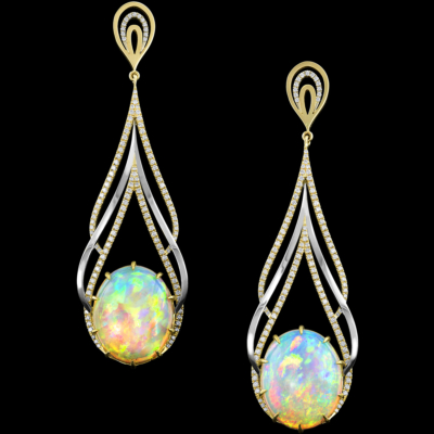 Diamonds and Colored gemstones Ocellius Earrings