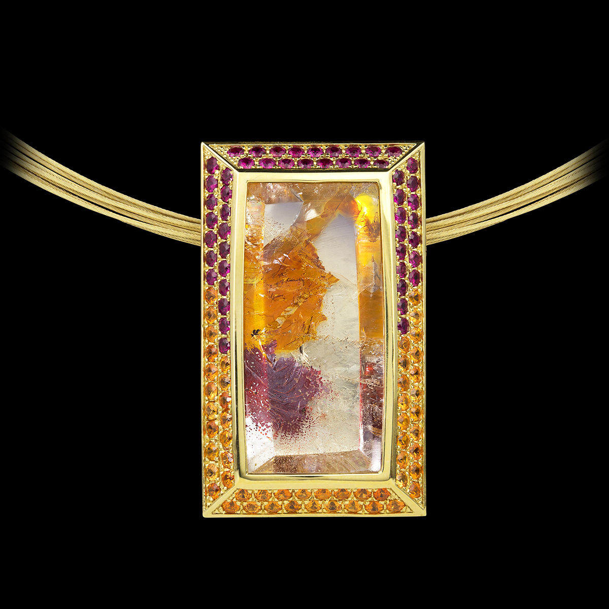 Tropical Garden Pendant with Quartz