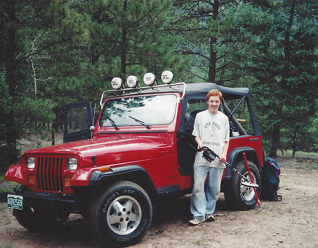 Adam Neeley with Jeep Rock Collecting