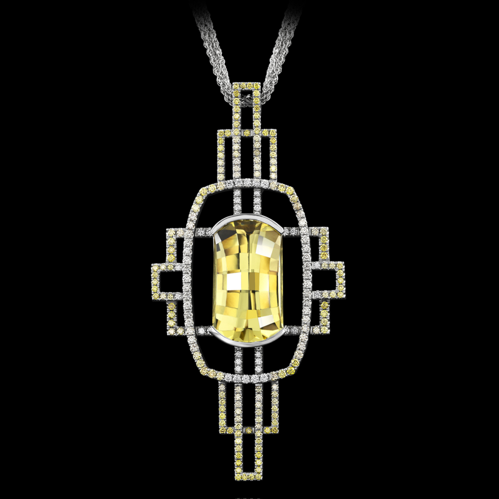 Stephen Avery Gemstone Jewelry Deco Gold Golden Beryl Pendant