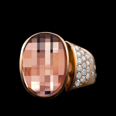 Morganite, Diamond & AlbaGold™ Ring | Diva
