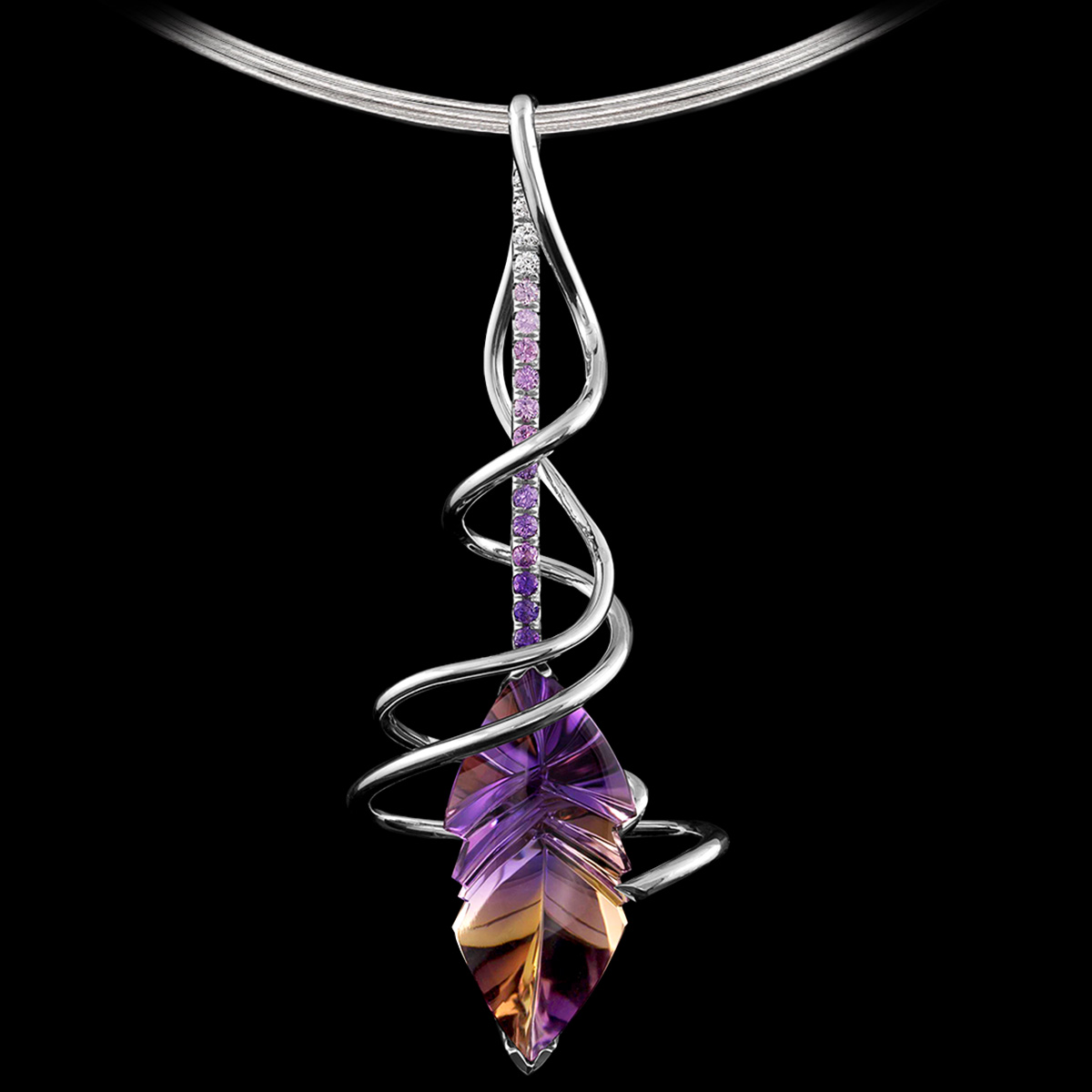 Ametrine and gradient diamond pendant Fleur del Sur