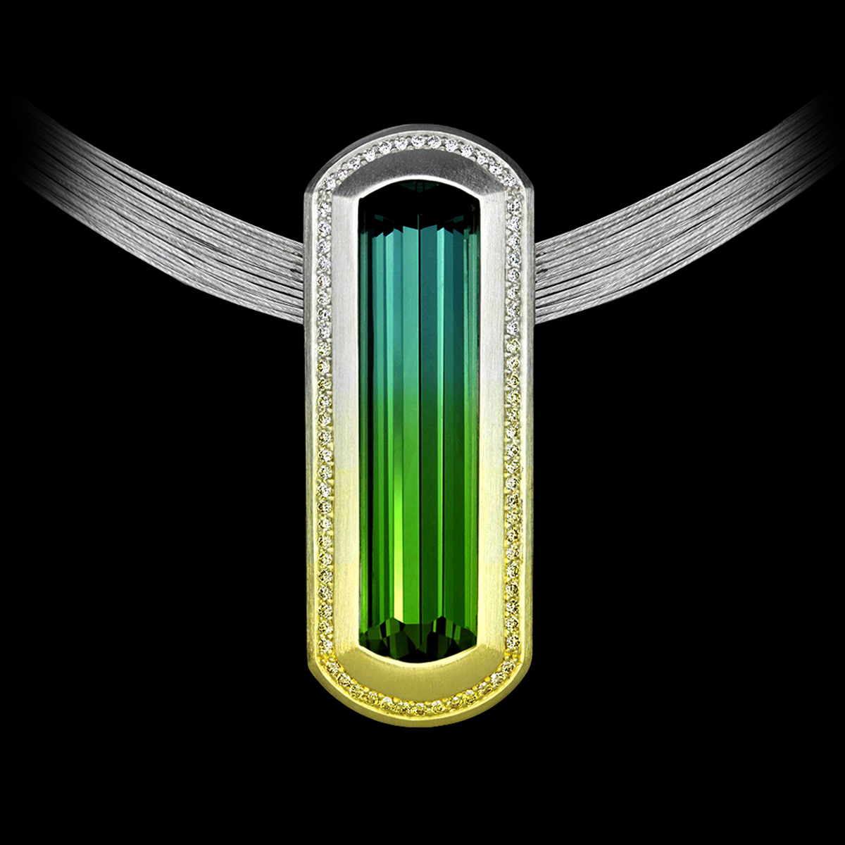 Diamonds and Colored Gemstones Ombre Tourmaline Pendant