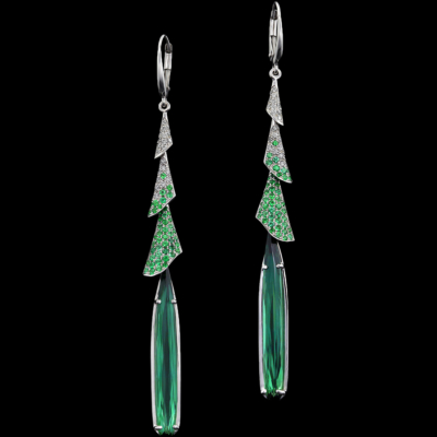 Tourmaline, Diamond & Emerald Earrings | Night Lily
