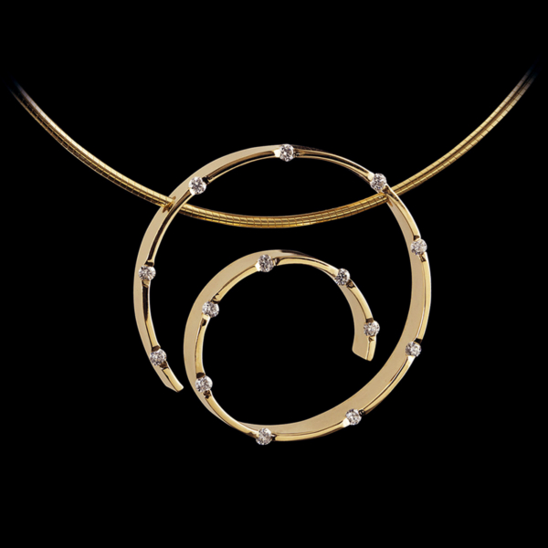 Spirale Yellow Gold Diamond Pendant