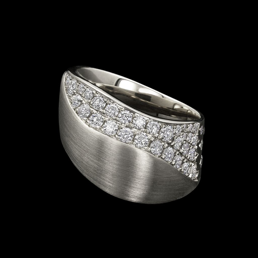 Dune Diamond Ring in White Gold