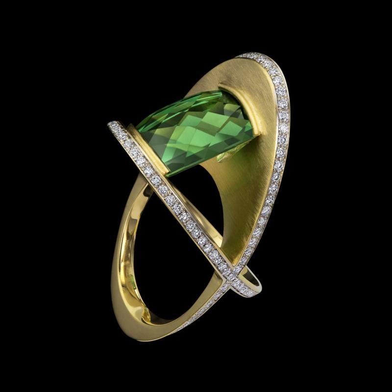 XOX Green Tourmaline Ring