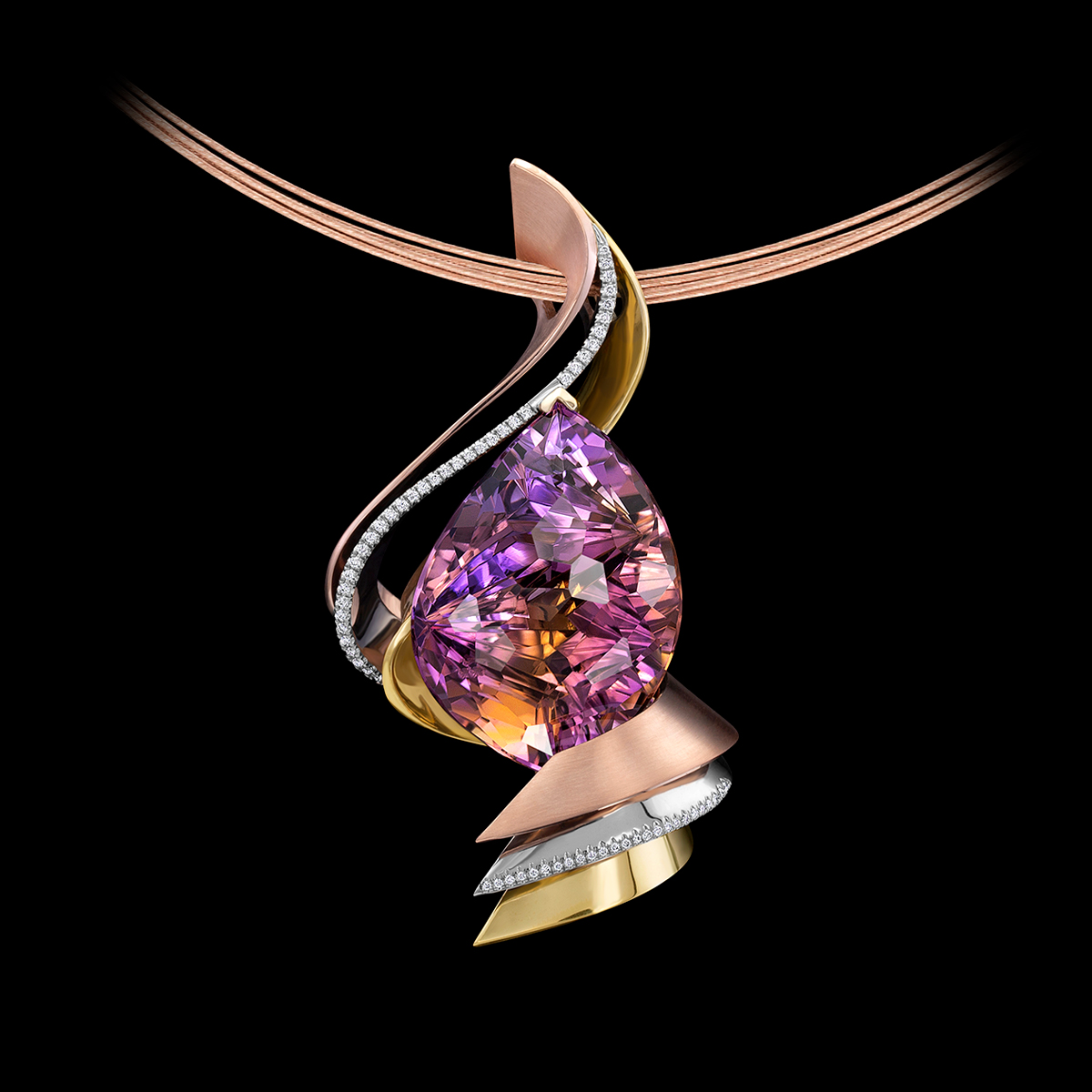ametrine diamond pendant Laguna Sunset