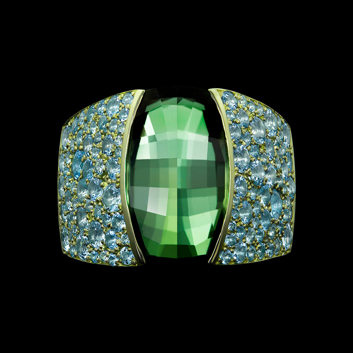 Iris Green Tourmaline Ring with Aquamarine