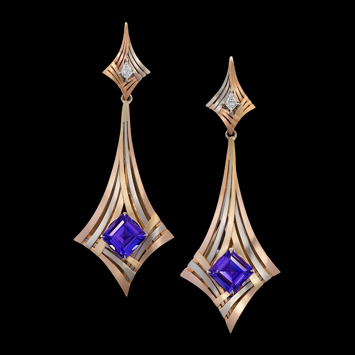 Tanzanite, Diamond & Gold Earrings | Violet Moderne