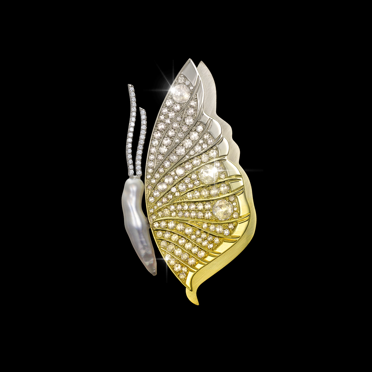 Diamond Brooch with SpectraGold Papilio