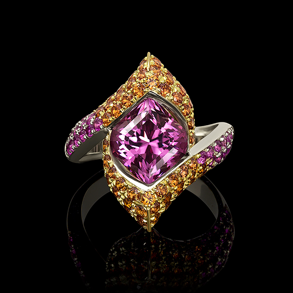 Pink Spinel and Sapphire Starlette Lilly Ring