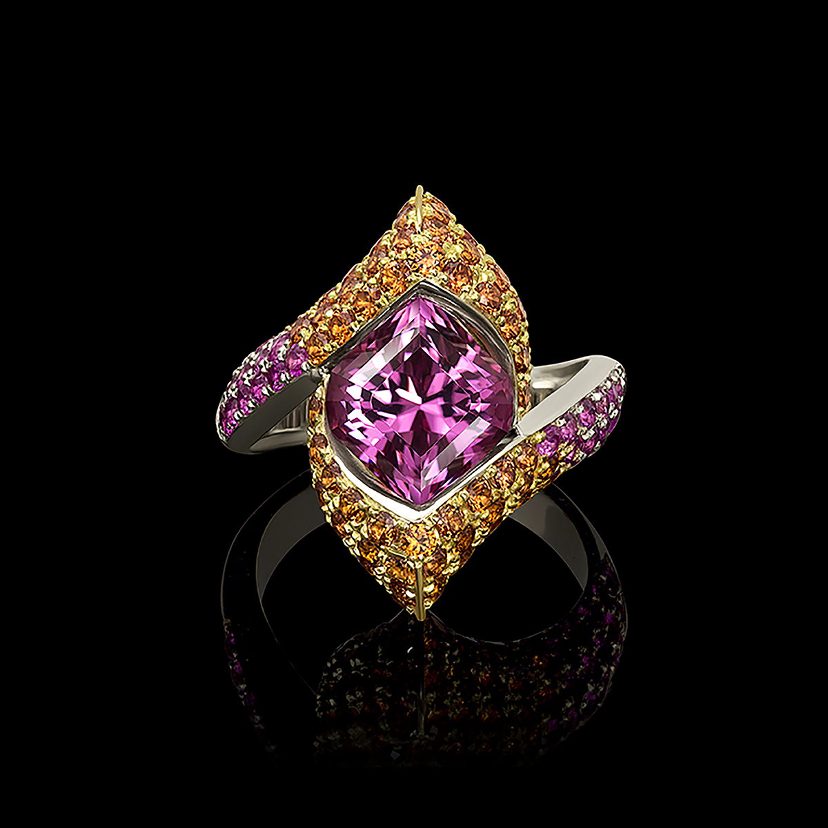Pink Spinel and Sapphire Ring Starlette Lily