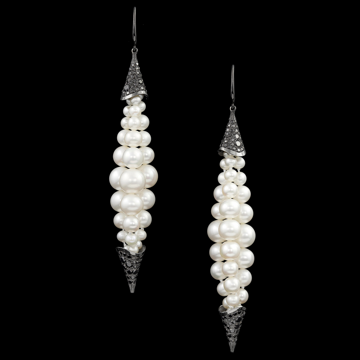 akoya pearl black diamond earrings sexy & dangerous