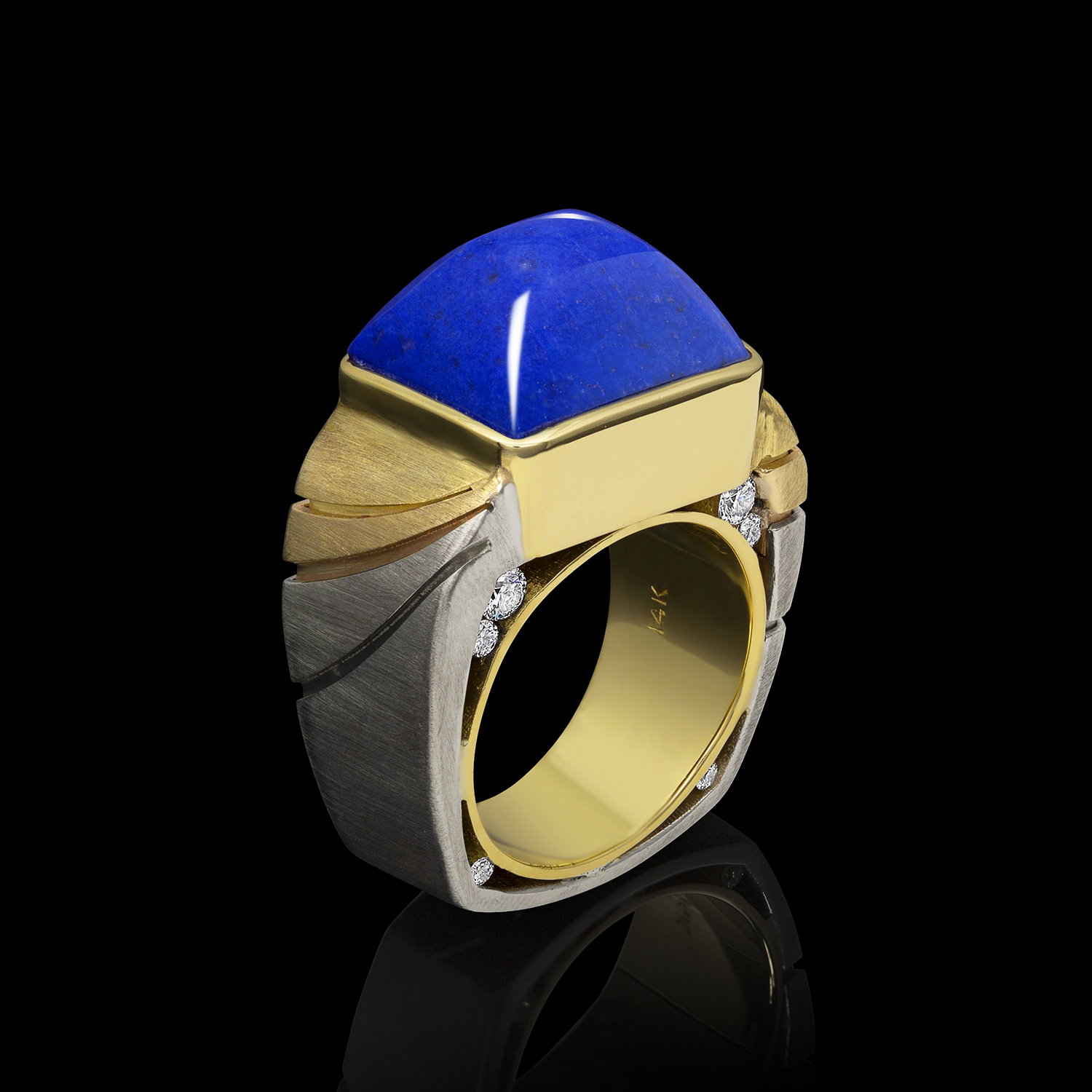 Celeste Lapis and Diamond Ring