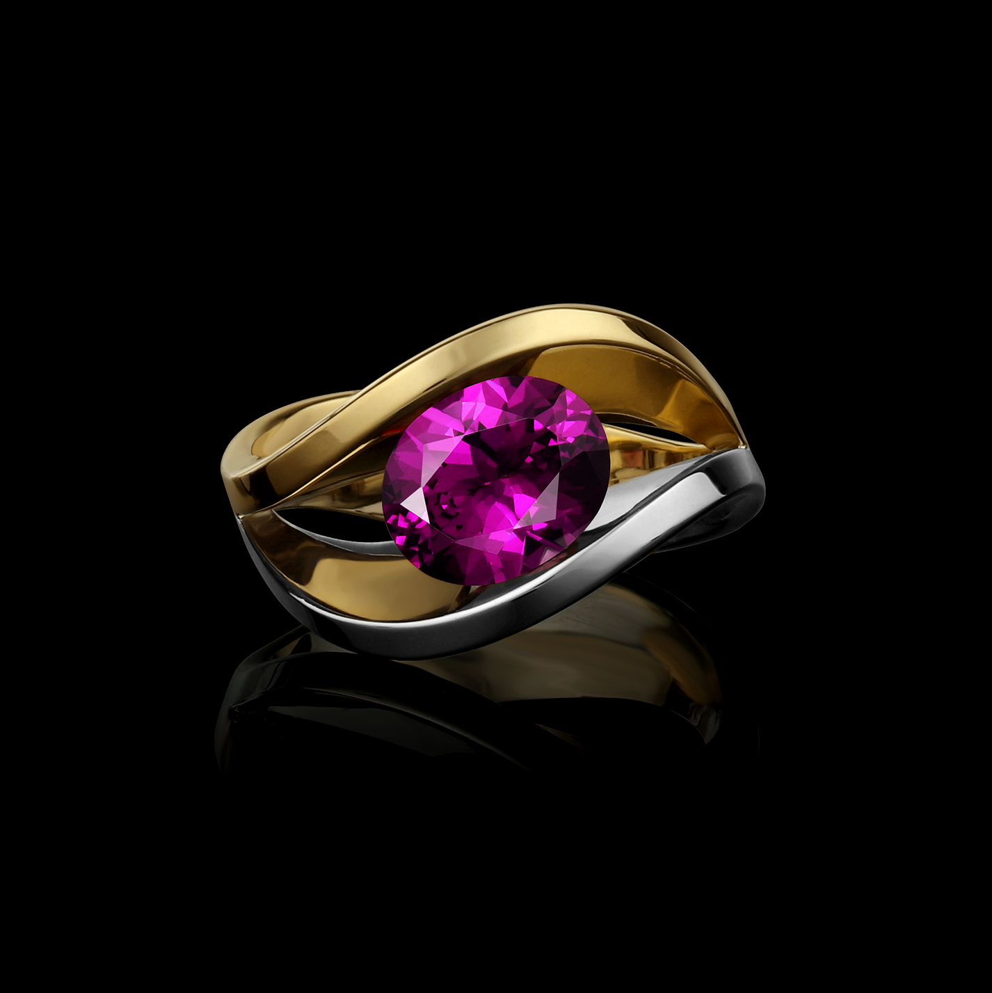 Purple Garnet, White & Yellow Gold Ring | Covet Duo