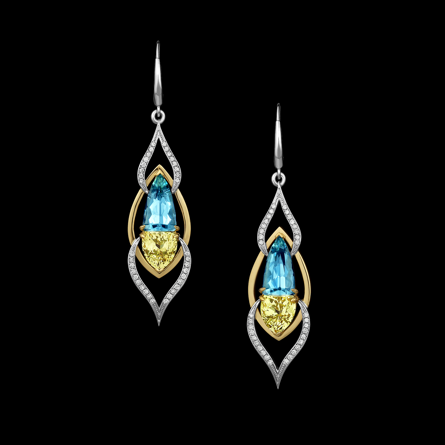 Heliodor, Aquamarine & Diamond Earrings | Verano