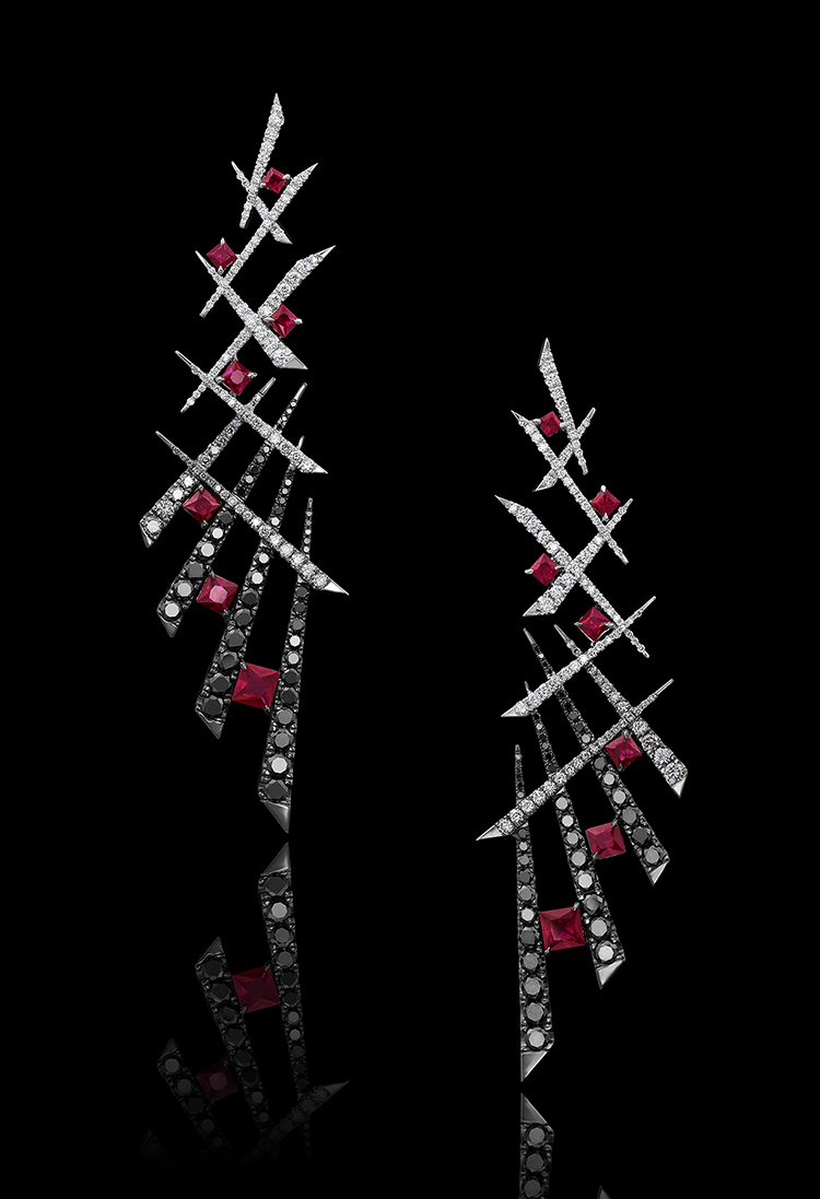Ruby, Black & White Diamond Earrings | Temptress