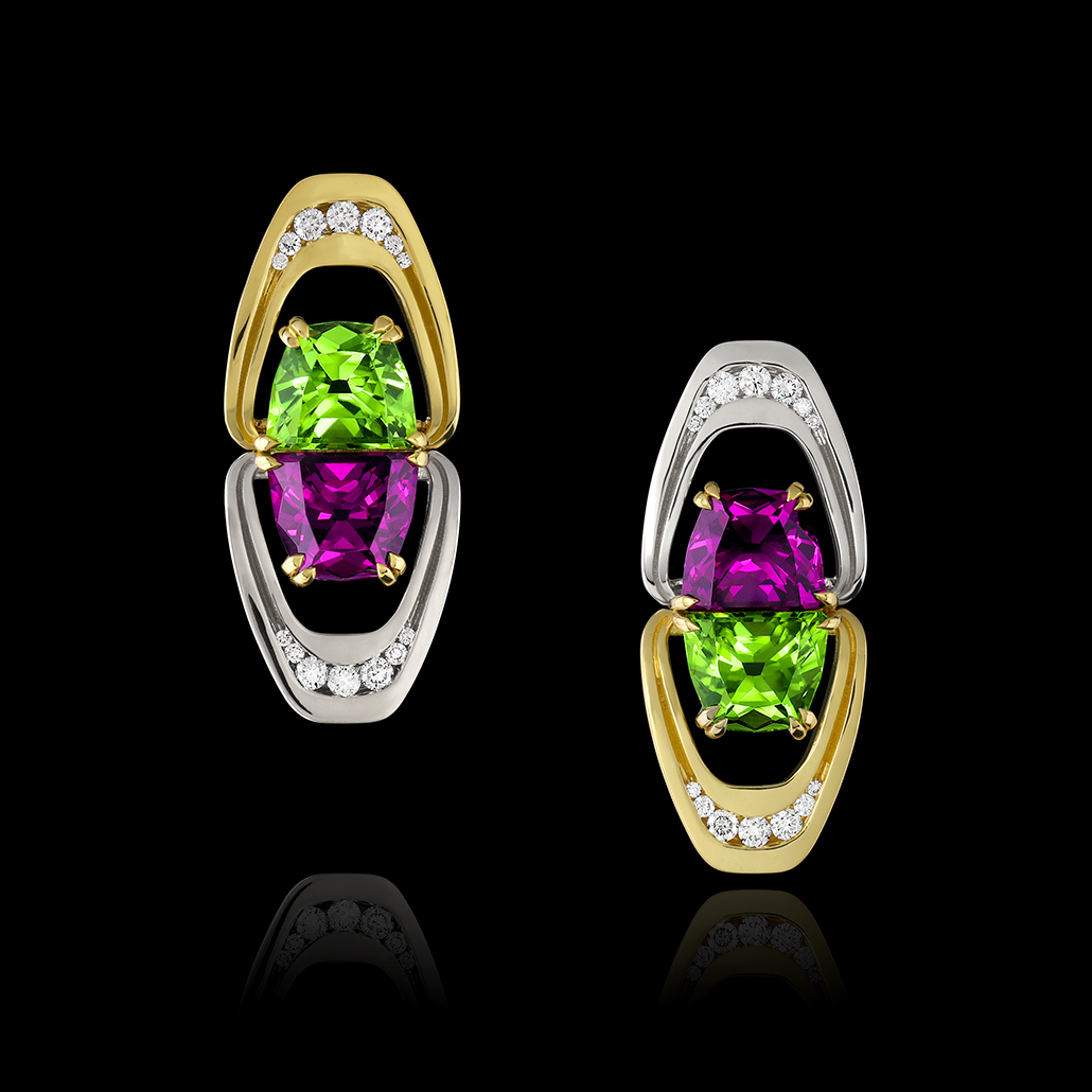 Garnet, Peridot, Diamond & Gold Earrings | Aurora