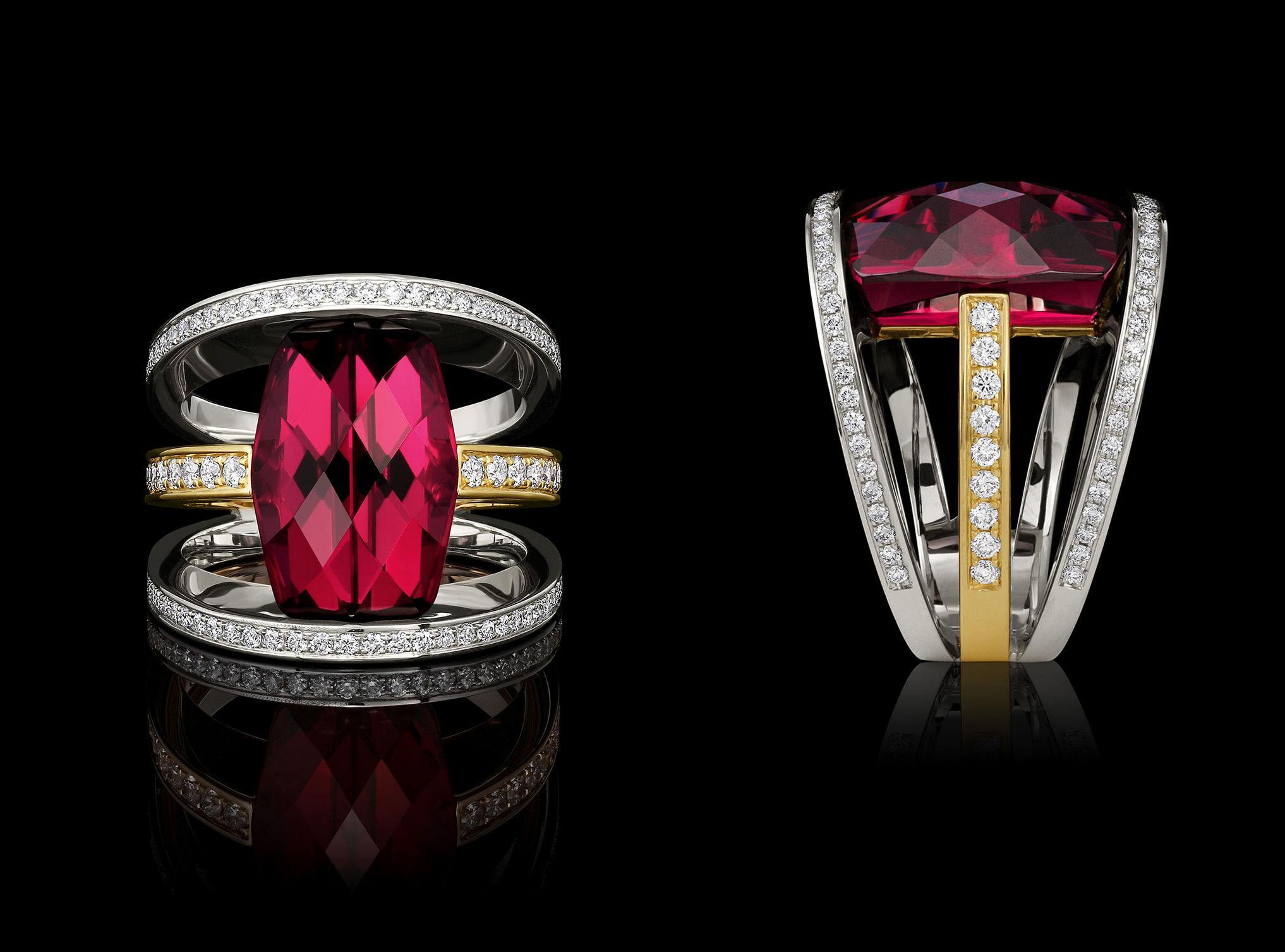 Garnet, Diamond & Gold Ring | Ellipse