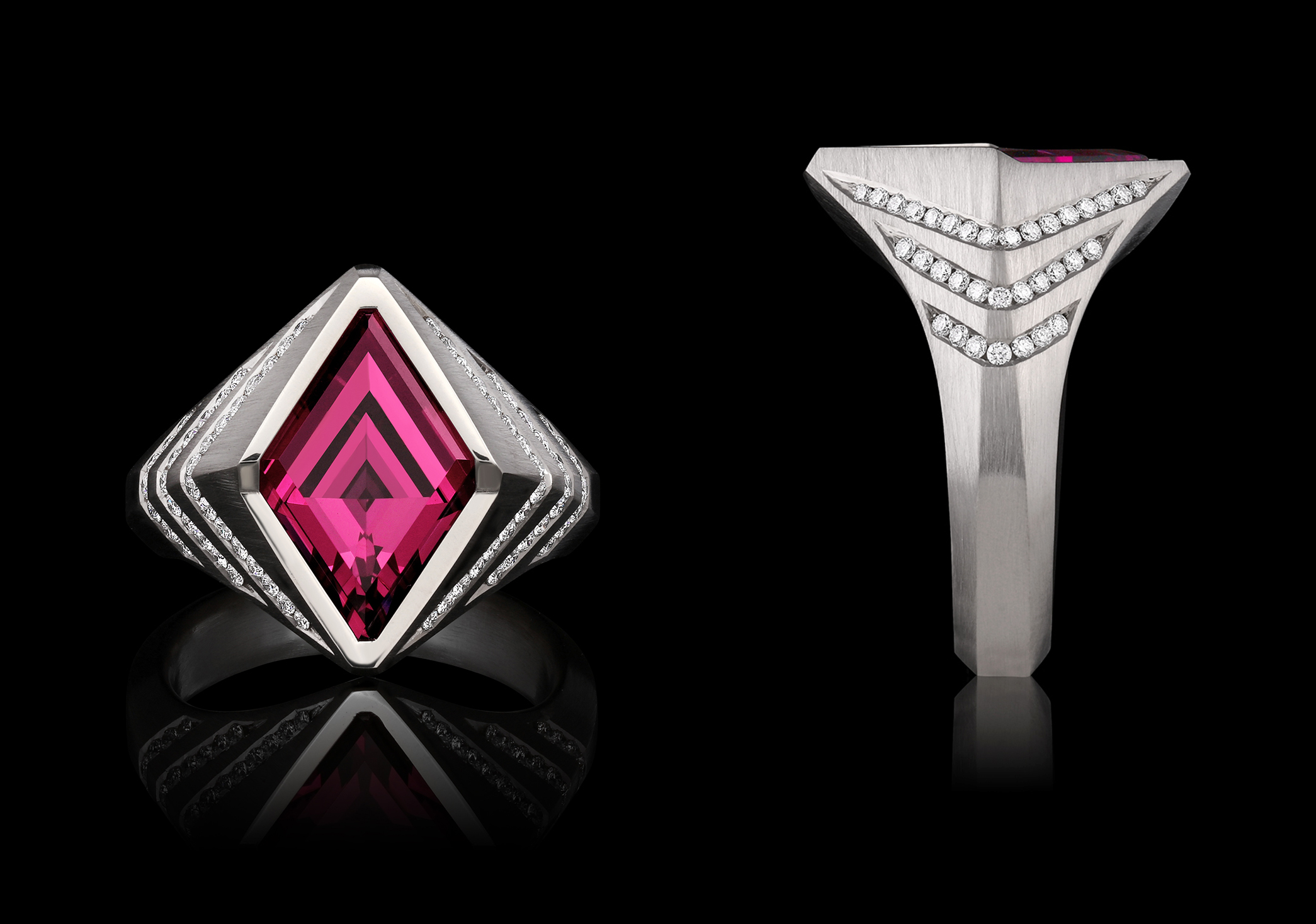 Garnet, Diamond & Gold Ring | Astra